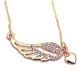 Valentine Gold Metal Angel Wing Heart Design Pendant With Crystals