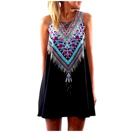 Awesome Black Native American Design Mini Dress / Long Top One Size