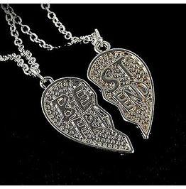 87f5f253f3 Besties Silver Metal Best Friend X 2 Necklaces