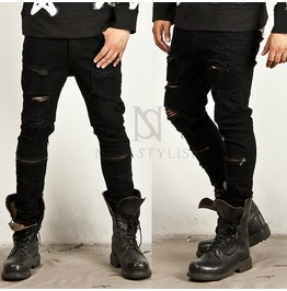 Zipper Accent Coated Black Distressed Slim Jeans 149