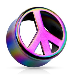 Rainbow Peace Symbol Ab Coat Double Flared Acrylic Saddle Fit Plug Pair 00