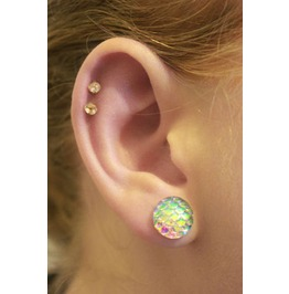 Mermaid Dragon Snake Scale Fantasy Ear Studs Jewelry Rainbow Earrings