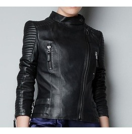 Black Faux Leather Gothic Biker Jacket
