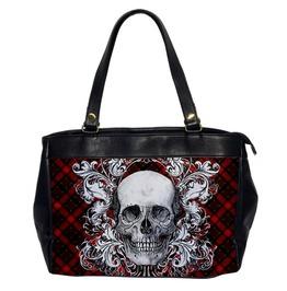 Plaid Ornate Skull Large Hand Bag 2 Sided