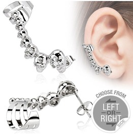 316 L Stainless Steel Cartilage Ear Cuff With Mini Cast Skulls Left Side