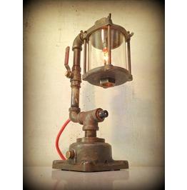 Found Object Light Sculpture Steampunk Lamp Deep Thoughts ©