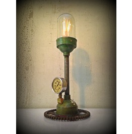 Found Object Steampunk Light Sculpture We Come In Peace ©