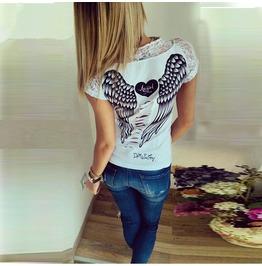 Black/White Heart Angel Wings Back Print T Shirt