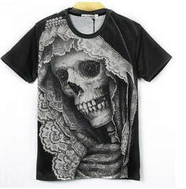 Punk Lace Skull Print Women/Men T Shirt