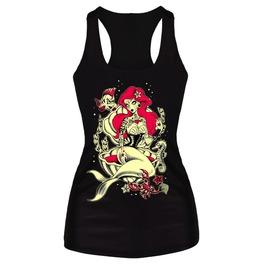 Sealife Tattooed Mermaid Print Top T Shirt One Size Small