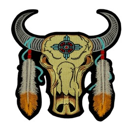 Big Patch Totem Kingsize American Indians Skull Bull 9.84 Inch / 9.84 Inch