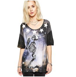 Punk Star Universe Skull Printed Women T Shirt