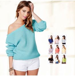 Off The Shoulder Sexy Casual Sweaters Ten Colors