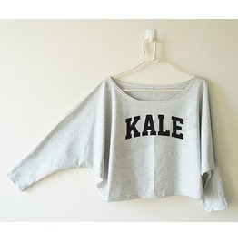 Kale Tshirt Funny Shirt Text Tshirt Women Sweatshirt Bat Sleeve Oversized