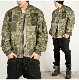 Camoflage Pattern Patchwork Accent Air Force Jacket 147