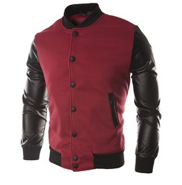 Sweater Pu Leather Collar Sweater Personalized Baseball Stitching Clothes