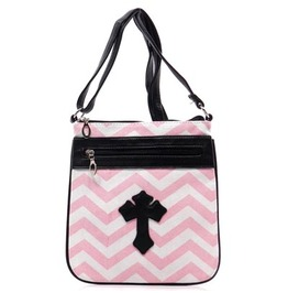 Pink Striped Cross Purse