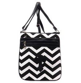 Striped Cross Purse Black