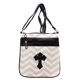 Striped Cross Purse Taupe