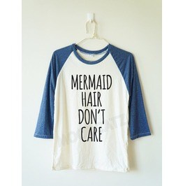 Mermaid Hair Don't Care Mermaid Shirt Baseball Shirt Long Women Men Shirt