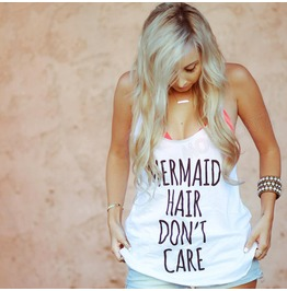 Mermaid Hair Don't Care Mermaid Shirt Racer Back Women Tank Women Shirt