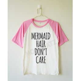 Mermaid Hair Don't Care Mermaid Shirt Baseball Tee Short Women Men Shirt