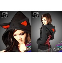 Hoodie Black Cat Ears Red Corset Kawaii