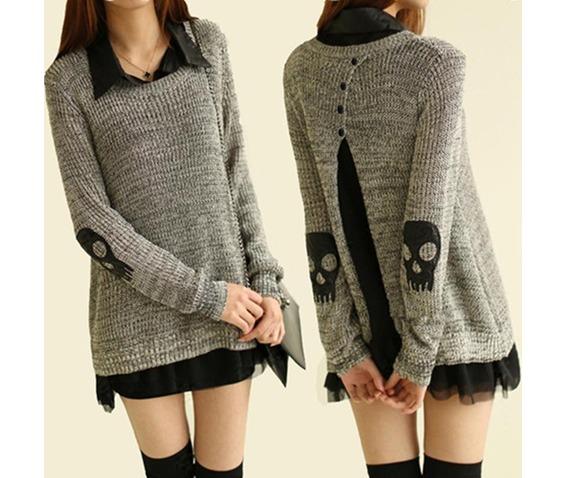 Punk Skull Cutout Women Sweater 96758