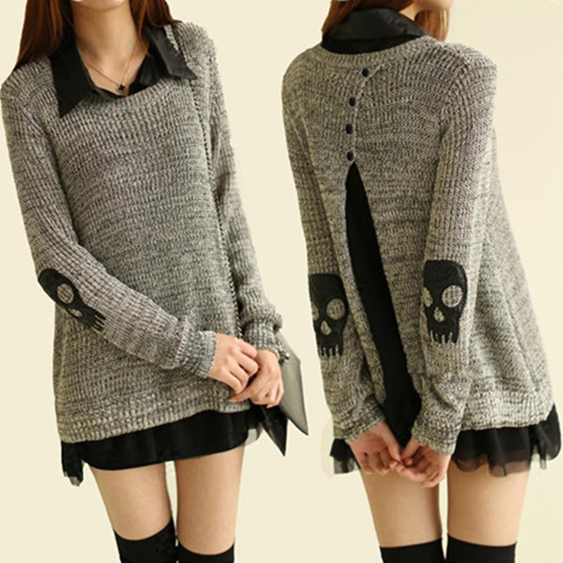 Punk Skull Cutout Women Sweater 96758
