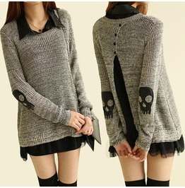 Punk Skull Cutout Women Sweater