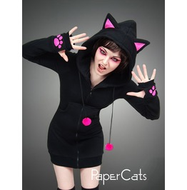 Hoodie Black Cat Pink Ears Long Kitty Kawaii