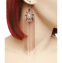 Antique Copper, Gold Or Silver Cross & Chain Earrings