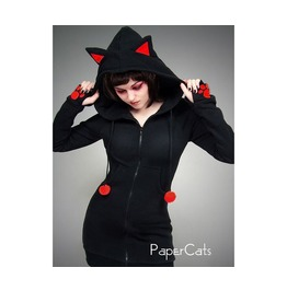 Long Hoodie Ears Cat Black Red Paws
