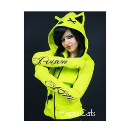 Neon Cat Hoodie Ears Nerd Poison Toxic Kawaii Cyber Goth Punk Bike