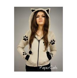 Cat Hoodie Ears Kitty Paws Kawaii Beige