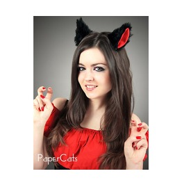 Cat Kitty Ears Black Red Cosplay Kawaii Anime Harajuku Sweet Manga