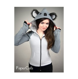 Koala Hoodie Ears Kawaii Animal Grey Sweet Harajuku Nerd