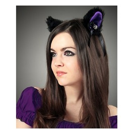 Cat Kitty Ears Black Purple Cosplay Kawaii Anime Harajuku Sweet Bell Violet