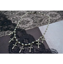 Handmade 7 Crosses Rosary Choker Necklace