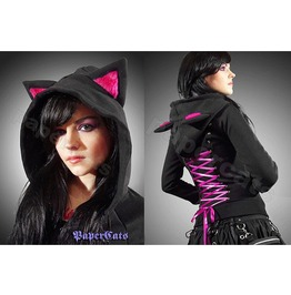 Hoodie Black Cat Ears Corset Kawaii