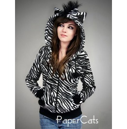 Hoodie Zebra Ears Mohawk Animal Fur Lolita Kawaii Nerd