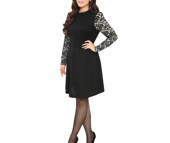 long sleeve lace skater dress plus size gallery