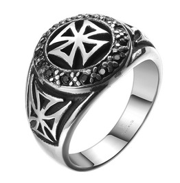 Men's Stainless Steel Cross Ring