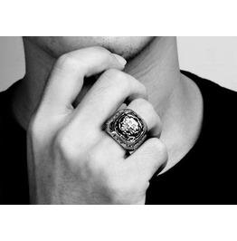Men's 316 L Stainless Steel Cross Totem Ring