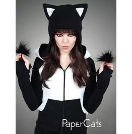 Cap Black Cat Animal Kitty White Fur Hat Ears Beanie Nerd Earmuffs Pompons