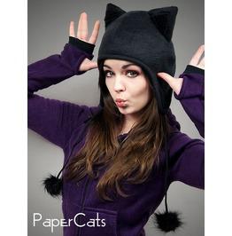 Black Cap Cat Kitty Fur Hat Animal Ears Beanie Earmuffs Pompons