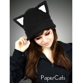 Black White Cap Kitty Fur Hat K Itty Animal Ears Beanie Earmuffs Pompons