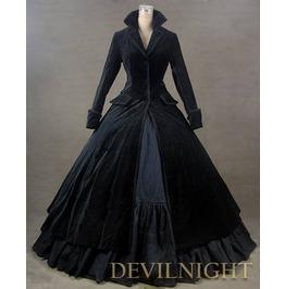 Black Velvet Vintage Winter Outfit Victorian Dress