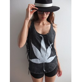 Leaf Fashion Stone Wash T Shirt Poncho Fringe
