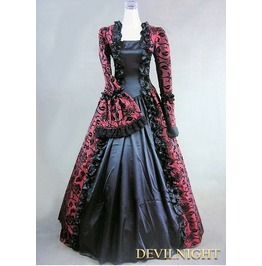 Wine Red And Black Marie Antoinette Masked Ball Victorian Costume